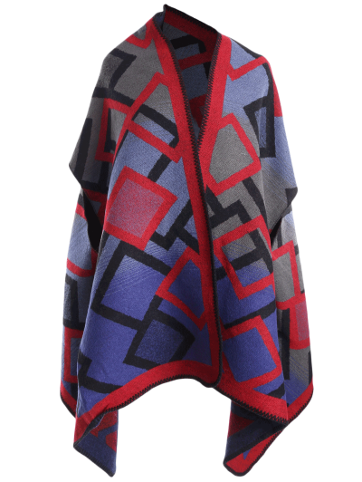 Geometry Pattern Cape Pashmina - RED  Mobile