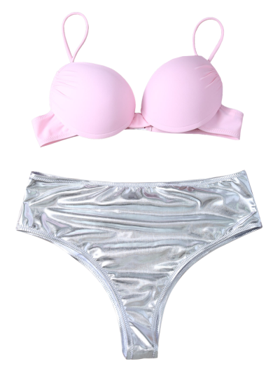 Underwire Bikini Top and Metallic Bottoms - PINK + SILVER M Mobile
