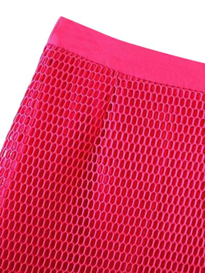 Solid Color High Waisted Mesh Skirt - BLACK M Mobile