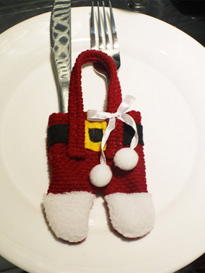 Christmas Santa Pants Shape Tableware Holder Bag - RED WITH WHITE  Mobile
