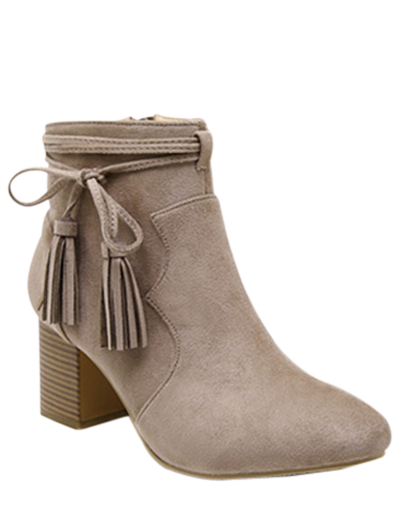 Tassels Zipper Chunky Heel Ankle Boots - CAMEL 39 Mobile