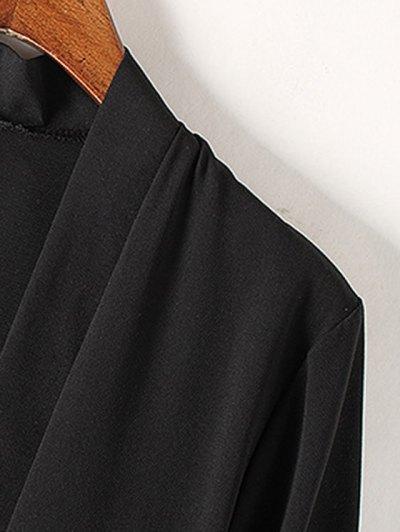 Tassels Spliced 3/4 Sleeve Solid Color Coat - BLACK S Mobile