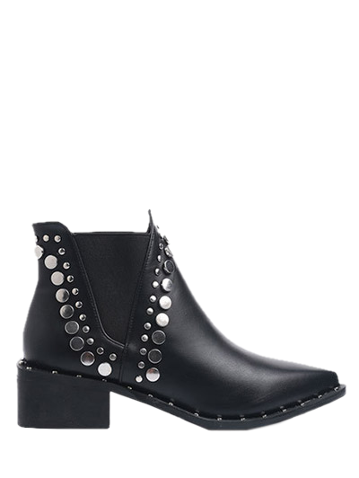 Punk Metal Pointed Toe Ankle Boots - BLACK 37 Mobile