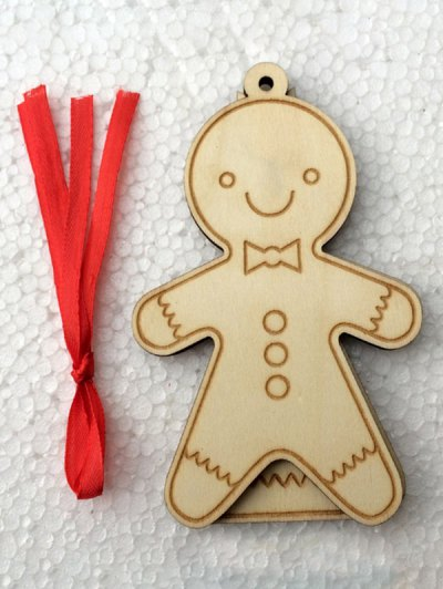 Christmas Tree Cookie Wooden Pendants Decoration - WOOD  Mobile