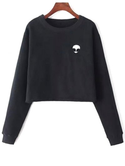 Alien Embroidered Cropped Sweatshirt - BLACK ONE SIZE(FIT SIZE XS TO M) Mobile