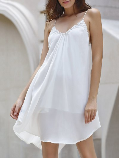 Backless Solid Color Spaghetti Straps Dress - OFF-WHITE S Mobile