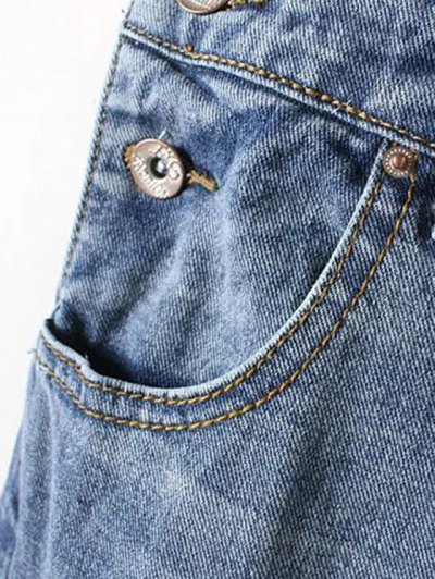 Bleach Wash Ripped Denim Overalls - BLUE L Mobile
