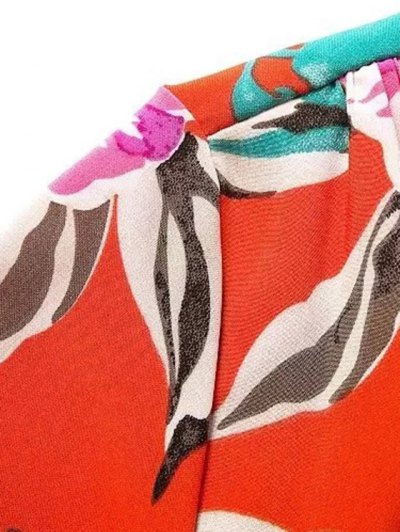 Bowknot Floral Print V Neck 3/4 Sleeve Romper - RED L Mobile