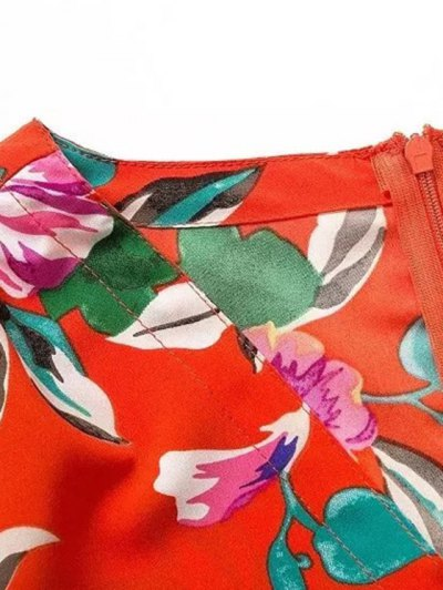 Bowknot Floral Print V Neck 3/4 Sleeve Romper - RED S Mobile