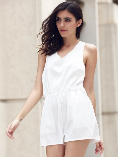 Lace Spliced V-Neck Cut Out Romper - WHITE S Mobile
