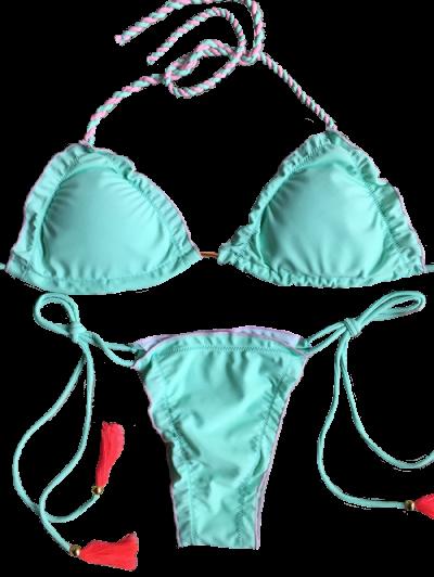 Strappy Scalloped Side Tie Tassel Bikini Set - LIGHT GREEN S Mobile