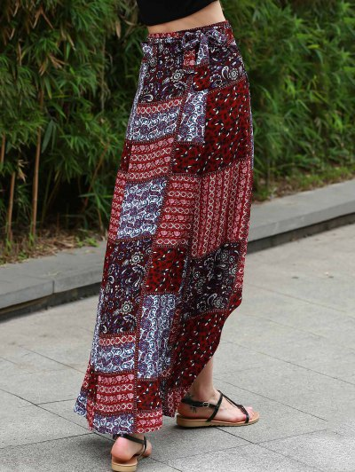 Ethnic Print High Waist High Low Skirt - COLORMIX M Mobile
