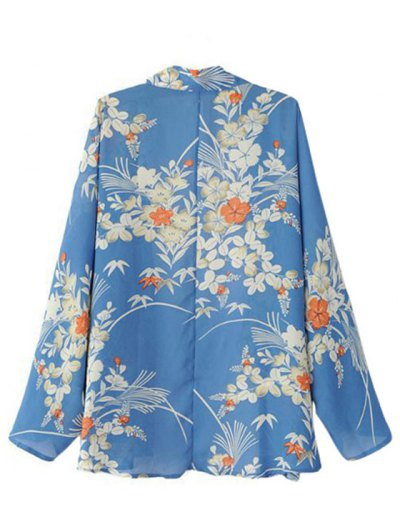 Open Front Floral Print Kimono Blouse - BLUE M Mobile