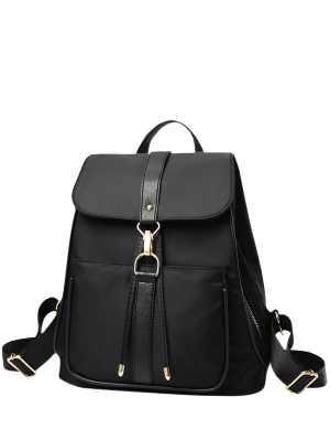 Drawstring Nylon Black Satchel - Black