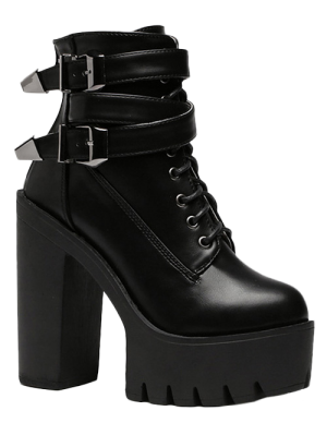 Double Buckle Platform Zipper Short Boots - Black