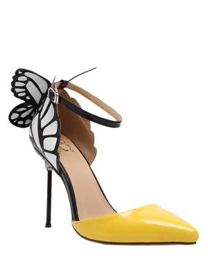 Butterfly Pointed Toe Ankle Strap Pumps - Yellow