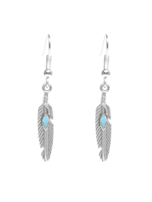 Feather Beaded Resin Earrings - Silver