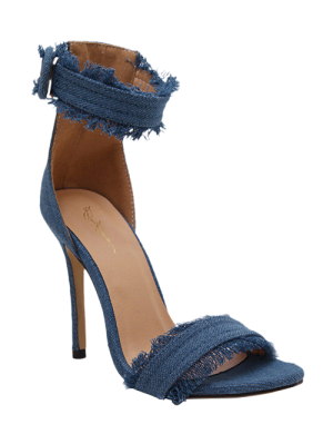 Denim Ankle Strap Stiletto Heel Sandals - Light Blue