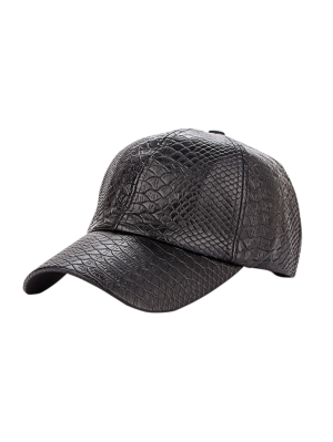 Casual Crocodile PU Leather Baseball Hat - Black
