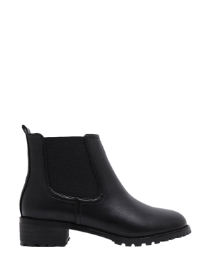 Elastic Round Toe Ankle Boots - Black