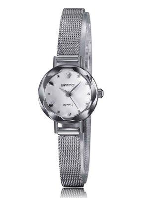 Alloy Band Embellished Quartz Watch - Silver