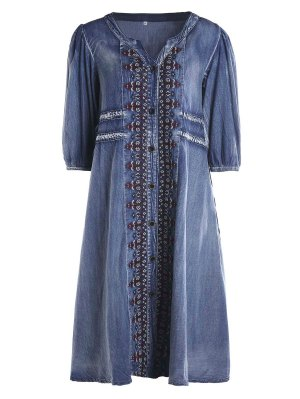 Drawstring Tribal Button Up Denim Dress - Blue
