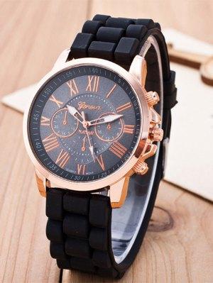 Roman Numerals Silicone Quartz Watch - Black