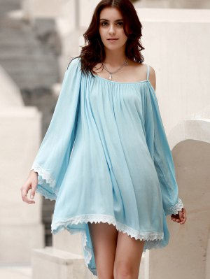 Flare Sleeve Lace Hem A-Line Dress - Light Blue