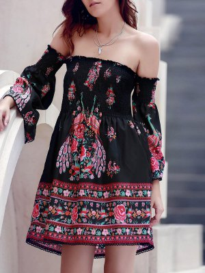 Off-The-Shoulder Printed Dress - Black