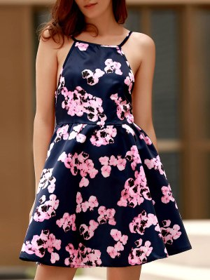 Open Back Floral Print Spaghetti Straps Dress - Purplish Blue