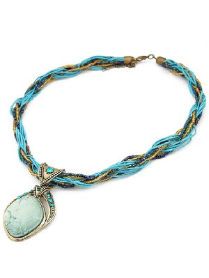 Collier Retro Style Faux Gem Multicouches - Pers