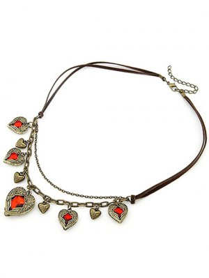 Faux Ruby Heart Shape Retro Style Necklace - Coffee