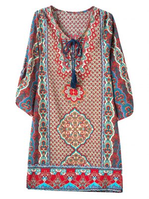3/4 Sleeve African Tribal Print Straight Dress
