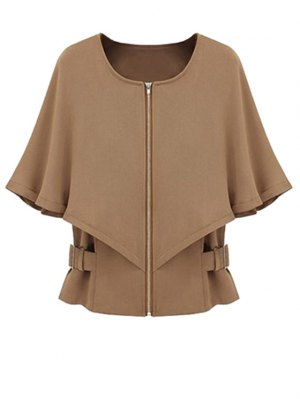 Solid Color Round Color Half Sleeve Cape Coat - Camel