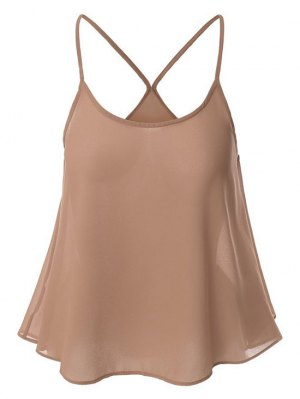 Candy-Colored Chiffon Cami Top - Nude