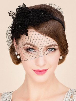 Black Lace Veil Cocktails Hat - Black
