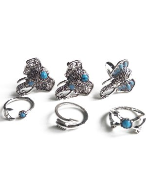 Faux Turquoise Elephant Head Ethnic Style Rings - Silver