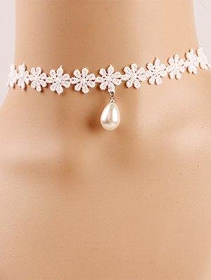 Faux Pearl Crochet Flower Choker - Off-white