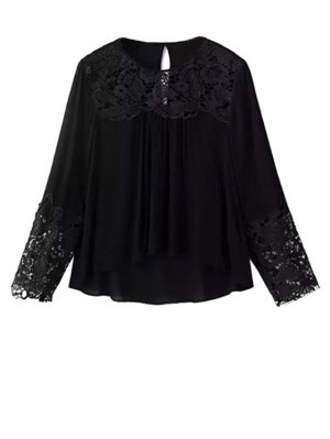 Lace Splicing Round Neck Long Sleeve Blouse - Black