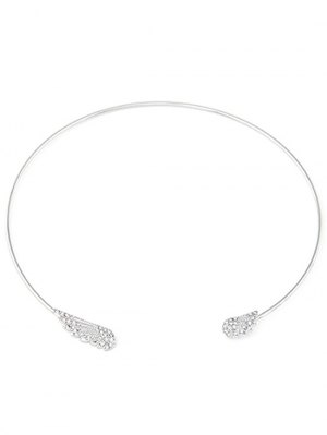 Rhinestone Angel Wings Chokers Necklace - Silver