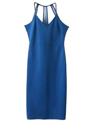 Sleeveless Solid Color Sheath Dress - Blue