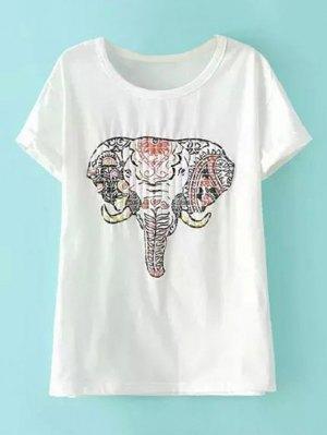 Short Sleeve Elephant Print T-Shirt - White