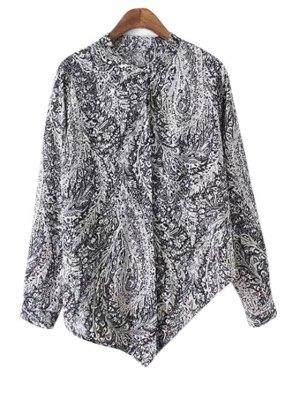 Irregular Hem Stand Collar Long Sleeve Printed Shirt - Black