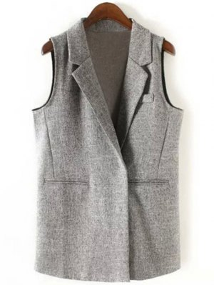 Back Slit Lapel Collar Covered Button Waistcoat - Gray