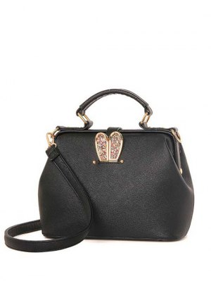 Sequins Rabbit Ear Solid Color Tote Bag - Black