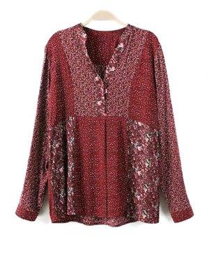 Loose Floral Print V Neck Long Sleeve Shirt - Red