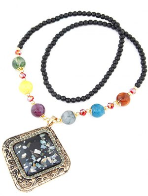 Faux Gem Beaded Geometric Necklace - Black