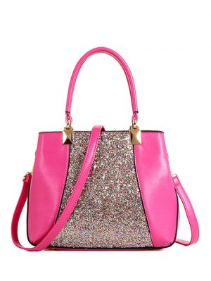 Sequins Splicing PU Leather Tote Bag - Rose