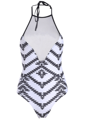 Printed One-Piece See Through Bathing Suit - White