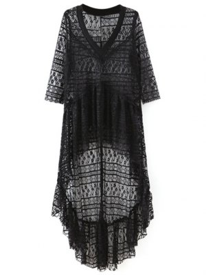 High-Low Hem V-Neck 3/4 Sleeve Lace Cover Up - Black